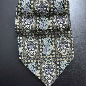 *NEW* Brioni Black/Taupe ORNATE Silk Tie